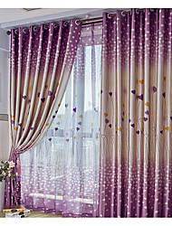 oeillets Plis crayon Deux Panneaux Le traitement de fenêtre Moderne , Cœur Salle de séjour Polyester Matériel Rideaux occultants rideaux