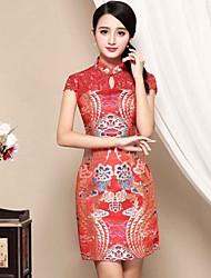 Fodero Vestito Da donna-Casual Stoffe orientali Ricamato Colletto alla coreana Sopra il ginocchio Manica corta Rosso Poliestere AutunnoA