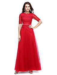 cheap -A-Line Scoop Neck Floor Length Chiffon Formal Evening Dress with Appliques by TS Couture®