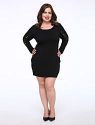 cheap -Women's Plus Size Little Black Dress - Solid Colored