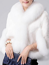 Women's Going out / Casual/Daily Simple Fur Coat,Solid Stand Long Sleeve Fall / Winter White / Black Faux Fur Medium