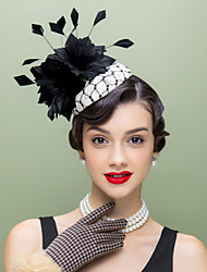 cheap -Flax Feather Fascinators Hats Headpiece Classical Feminine Style