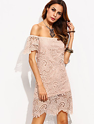 Women's Casual/Daily / Club Sexy / Street chic Sheath DressSolid Boat Neck Backless Lace Above Knee Short Sleeve  Spring / SummerMid