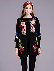 By Megyn Women's Embroidery Casual/Daily Chinoiserie CoatEmbroidered Round Neck Sleeve Winter Black Others