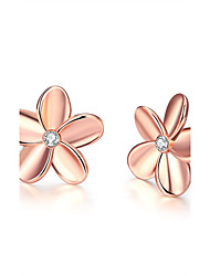 cheap -Women's Zircon Silver Plated Rose Gold Plated Stud Earrings - Simple Style European For Wedding Party Daily Casual