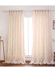 cheap -Rod Pocket Grommet Top Tab Top Double Pleat Two Panels Curtain Jacquard Flower Bedroom Polyester Material Curtains Drapes Home Decoration