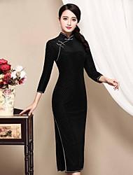 Gaine Robe Femme Décontracté / Quotidien Chinoiserie,Tartan Mao Midi Manches ¾ Noir Polyester Automne Taille Normale Micro-élastique Moyen