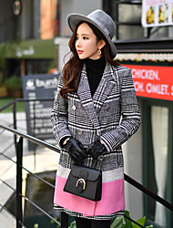 cheap -DABUWAWA Women's Daily Work Cute Street chic Sophisticated Winter Spring/Fall Peaked Lapel Long Sleeve Long