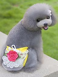 Gatti Cani Pantalone Abbigliamento per cani Estate Primavera/Autunno Fiore decorativo Divertente Casual Beige Giallo Verde Rosa