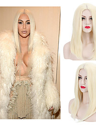 cheap -Joanne Lady Gaga New Natural Sexy 613# Blonde Straight Middle Parting Sexy Synthetic Wigs for European and American Ladies Heat Resistant