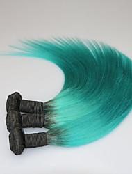1B/Green Ombre Brazilian Virgin Hair Bundles Straight Two Tone Human Hair Extension 3Pcs Lot Brazilian Virgin Hair Weave Bundles