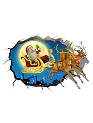 3D Father Christmas And Elk Hole PVC Material Decorative Skin Wall Stickers
