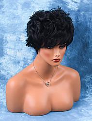 cheap -Towheaded Layered Short Capless Wigs Natural Wavy Human Ombre Hair
