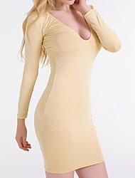 abordables -Moulante Robe Femme Décontracté / Quotidien Sexy / Mignon,Couleur Pleine Col en V Au dessus du genou Manches Longues Or Modal / Polyester