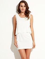 Damen Kleid - Hülle Solide Mini Chiffon Rundhalsausschnitt