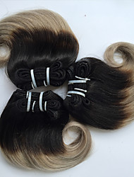cheap -Brazilian Hair Body Wave Virgin Human Hair Ombre Hair Weaves 4 Bundles 8 inch Human Hair Weaves Hot Sale Black / Grey Human Hair Extensions