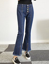 Women's Mid Rise Inelastic Jeans Pants,Simple Street chic Bootcut Tassel Solid
