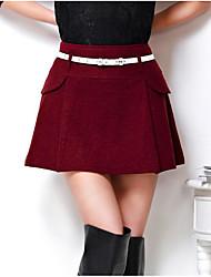 Damen Röcke,A-Linie einfarbigLässig/Alltäglich / Party/Cocktail / Ausgehen Mittlere Hüfthöhe Mini Kordelzug Kunstpelz Micro-elastisch