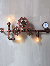 cheap -Vintage Industrial Pipe Wall Lights Wood Gear Shape Creative turnable Lights Restaurant Cafe Bar Decoration lighting
