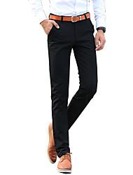 Hombre Casual Tiro Bajo Microelástico Corte Recto Delgado Chinos Pantalones,Un Color Algodón Invierno Otoño