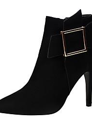 Women's Boots Winter Comfort Suede Dress Stiletto Heel Buckle Black Gray