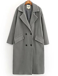 Women's Going out / Casual/Daily Sexy / Street chic Coat,Solid Hooded Long Sleeve Fall / Winter Blue / Gray Cotton Thick