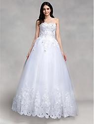 billiga -Balklänning Hjärtformad urringning Golvlång Tyll Bröllopsklänningar tillverkade med Paljett / Applikationsbroderi av LAN TING BRIDE® / Glittra och gläns
