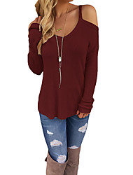 cheap -Women's Daily Going out Sexy Regular Pullover,Solid V Neck Long Sleeves Polyester Spandex Winter Fall Medium Micro-elastic