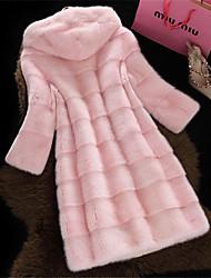 Cappotto di pelliccia Da donna Serata formale Prima comunione Casual San Valentino Capodanno Elegante Inverno,Tinta unica Con cappuccio