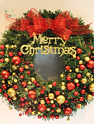 cheap -Christmas Wreath 2 Colors Pine Needles Christmas Decoration For Home Party Diameter 40cm Navidad New Year Supplies