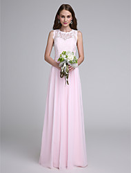 cheap -Sheath / Column Jewel Neck Floor Length Chiffon Lace Bridesmaid Dress with Lace by LAN TING BRIDE®