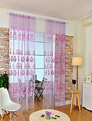 cheap -Rod Pocket One Panel Curtain European, Print Flower Living Room Polyester Material Sheer Curtains Shades Home Decoration