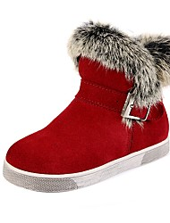 cheap -Girls' Shoes Leather / Fur Winter Comfort / Snow Boots / Fashion Boots Boots Walking Shoes Buckle for Black / Gray / Red