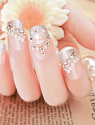 24 Pieces In A Box Fake Nails Wholesale Pearl Shanzuan Floret The Bride Nail Strips