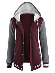 Daily Active Hoodie Jacket Color Block Round Neck Micro-elastic Cotton Long Sleeve Winter Fall