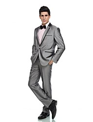 cheap -Tuxedos Tailored Fit Notch Single Breasted One-button Viscose / Wool & Polyester Blended Solid 2 Pieces Gray