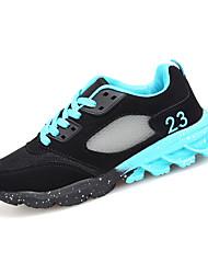baratos -Mulheres Sapatos Couro Ecológico Primavera / Outono Conforto Tênis Corrida Sem Salto Ponta Redonda Cadarço Preto / Fúcsia / Black / azul