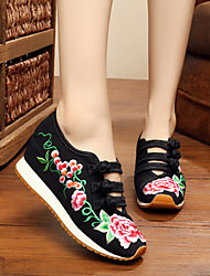 cheap -Women's Shoes Fabric Spring Summer Comfort Espadrilles Flats Flat Heel Closed Toe Buckle Flower for Athletic Casual Outdoor Black Red Blue
