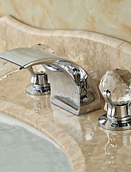 Contemporary Widespread Waterfall with  Ceramic Valve Two Handles Three Holes for  Chrome , Bathroom Sink Faucet