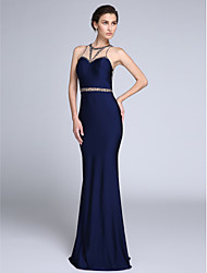 Mermaid / Trumpet Jewel Neck Sweep / Brush Train Tulle Jersey Formal Evening Dress with Beading by TS Couture®