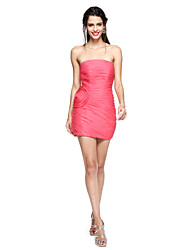 cheap -Sheath / Column Strapless Short / Mini Organza Cocktail Party Homecoming Dress with Flower Ruched Side Draping by TS Couture®