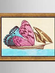 Animali / Fantasia Tele con cornice / Set con cornice Wall Art,PVC Materiale Oro Senza passepartout con cornice For Decorazioni per la