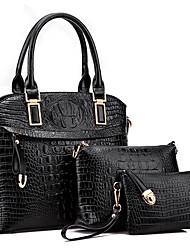 Donna Sacchetti Per tutte le stagioni PU (Poliuretano) sacchetto regola Set di borsa da 3 pezzi Perline per Formale Nero Beige Rosso Blu