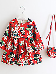 cheap -Girl's Daily Print Dress,Polyester Winter Spring Fall Long Sleeve Floral Red Blue
