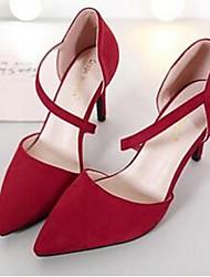 Women's Heels Comfort Fleece Casual Black Red