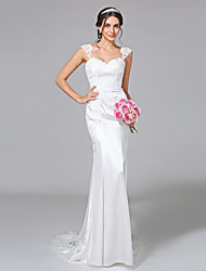 cheap -Mermaid / Trumpet Straps Court Train Stretch Satin Wedding Dress with Appliques Button by LAN TING BRIDE®