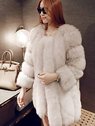 cheap -Women's Street New Year Luxury Winter Fur Coat,Solid Color Fashion Round Neck Long Sleeve Long N/A