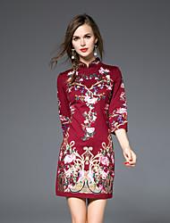 Gaine Robe Femme Décontracté / Quotidien Chinoiserie,Broderie Mao Au dessus du genou Manches ¾ Rouge / Noir Coton / Spandex AutomneTaille