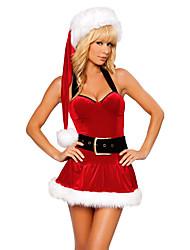 preiswerte -Santa Anzüge Cosplay Kostüme Frau Weihnachten Fest / Feiertage Halloween Kostüme Rot Patchwork