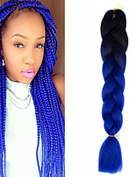 1 Pack Black Ombre Sapphire Crochet 24inch Yaki Kanekalon Fiber 100g 2 Tone Jumbo Braids Synthetic Hair Extensions